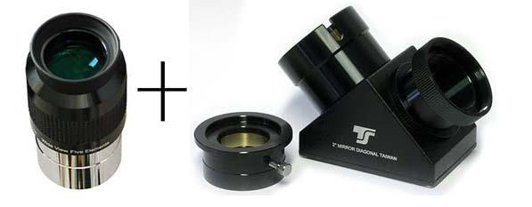 """Kit accessori TS Optics: diagonale da 2"""" per SC + oculare ERFLE 2"""" 42mm grandandolare"""